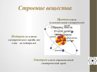 Строение вещества Протон имеет положительный электрический заряд Нейтрон не и