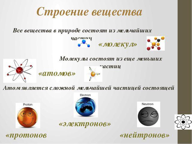 Строение вещества Все вещества в природе состоят из мельчайших частиц «молеку...