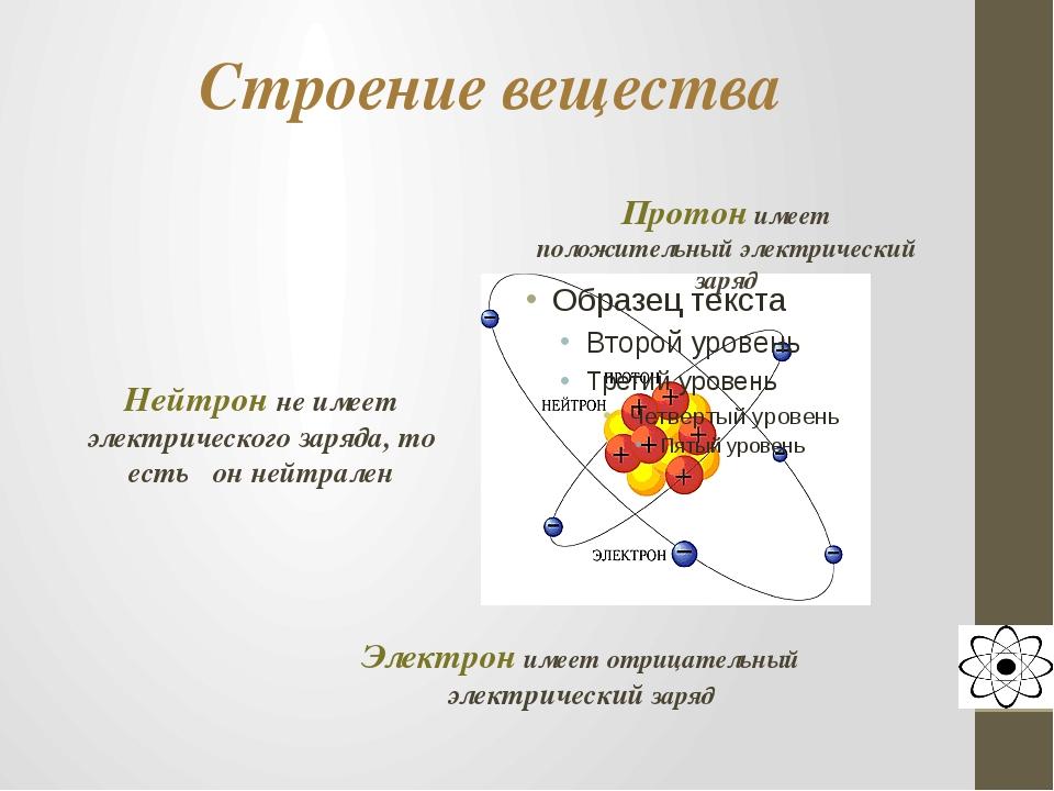 Строение вещества Протон имеет положительный электрический заряд Нейтрон не и...