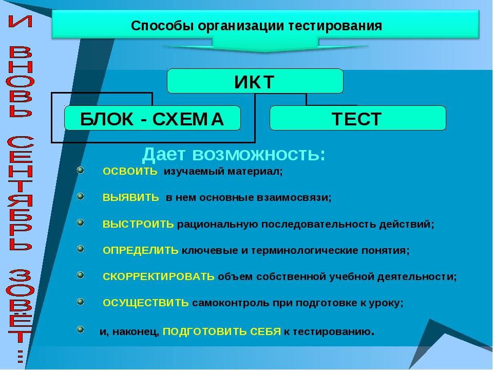 Способы организации тестирования Дает возможность: ОСВОИТЬ изучаемый материал...
