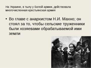 На Украине, в тылу у Белой армии, действовала многочисленная крестьянская арм