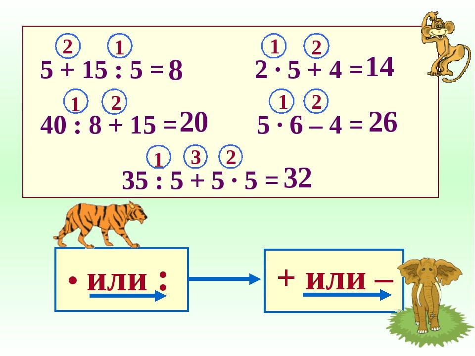 5 + 15 : 5 = 2 ∙ 5 + 4 = 40 : 8 + 15 = 5 ∙ 6 – 4 = 35 : 5 + 5 ∙ 5 =