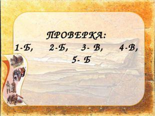 ПРОВЕРКА: 1-Б, 2-Б, 3- В, 4-В, 5- Б