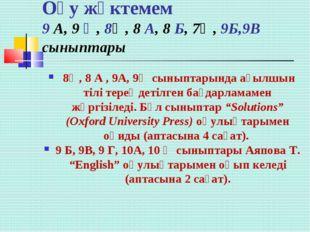 Оқу жүктемем 9 А, 9 Ә, 8Ә, 8 А, 8 Б, 7Ә, 9Б,9В сыныптары 8Ә, 8 А , 9А, 9Ә сы