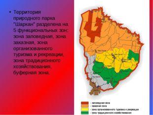 """Территория природного парка """"Шаркан"""" разделена на 5 функциональных зон: зона"""