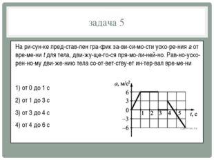 задача 5 На рисунке представлен график зависимости ускорения a от