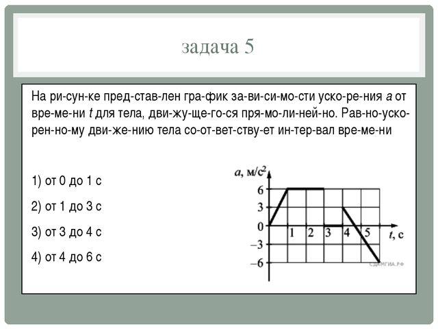 задача 5 На рисунке представлен график зависимости ускорения a от...