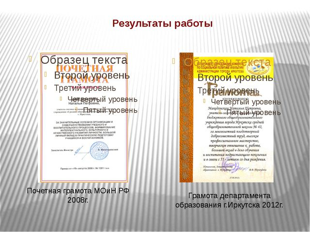 Результаты работы Почетная грамота МОиН РФ 2008г. Грамота департамента образо...