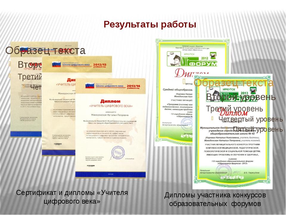 Результаты работы Сертификат и дипломы «Учителя цифрового века» Дипломы участ...