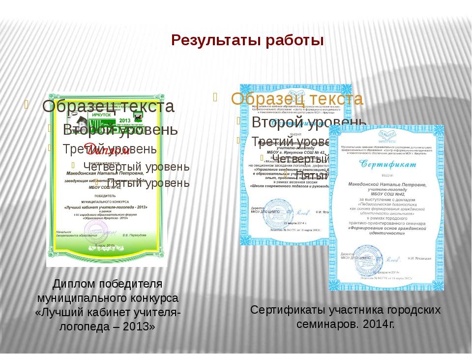 Результаты работы Диплом победителя муниципального конкурса «Лучший кабинет у...