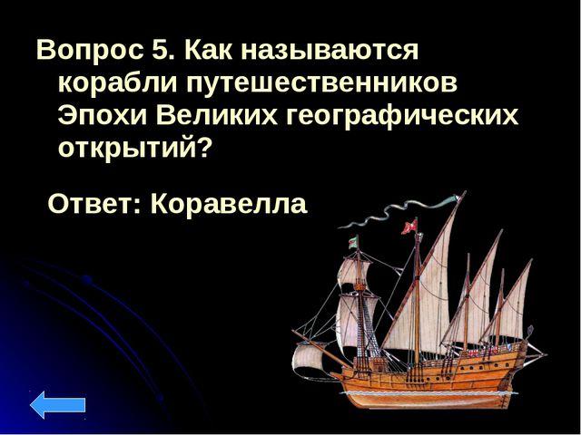 Вопрос 5. Как называются корабли путешественников Эпохи Великих географически...