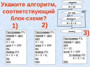 Программа Р1; перем х: цел; нач Х:= 12; пока Х < 100 нц вывод (Х); Х:= Х + 6;