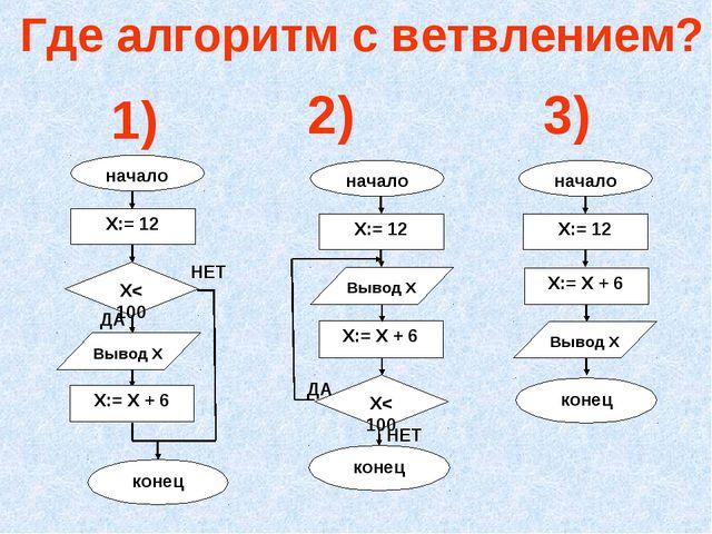 Где алгоритм с ветвлением? 1) 2) 3)