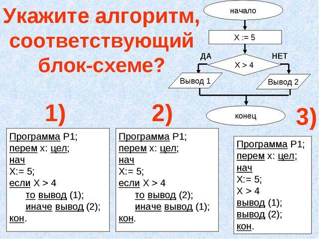 Укажите алгоритм, соответствующий блок-схеме? Программа Р1; перем х: цел; нач...