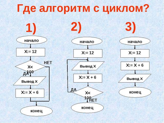 Где алгоритм с циклом? 1) 2) 3)