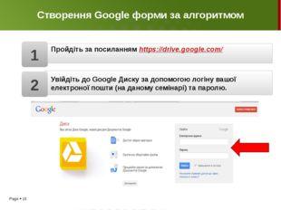 Створення Google форми за алгоритмом Пройдіть за посиланням https://drive.goo