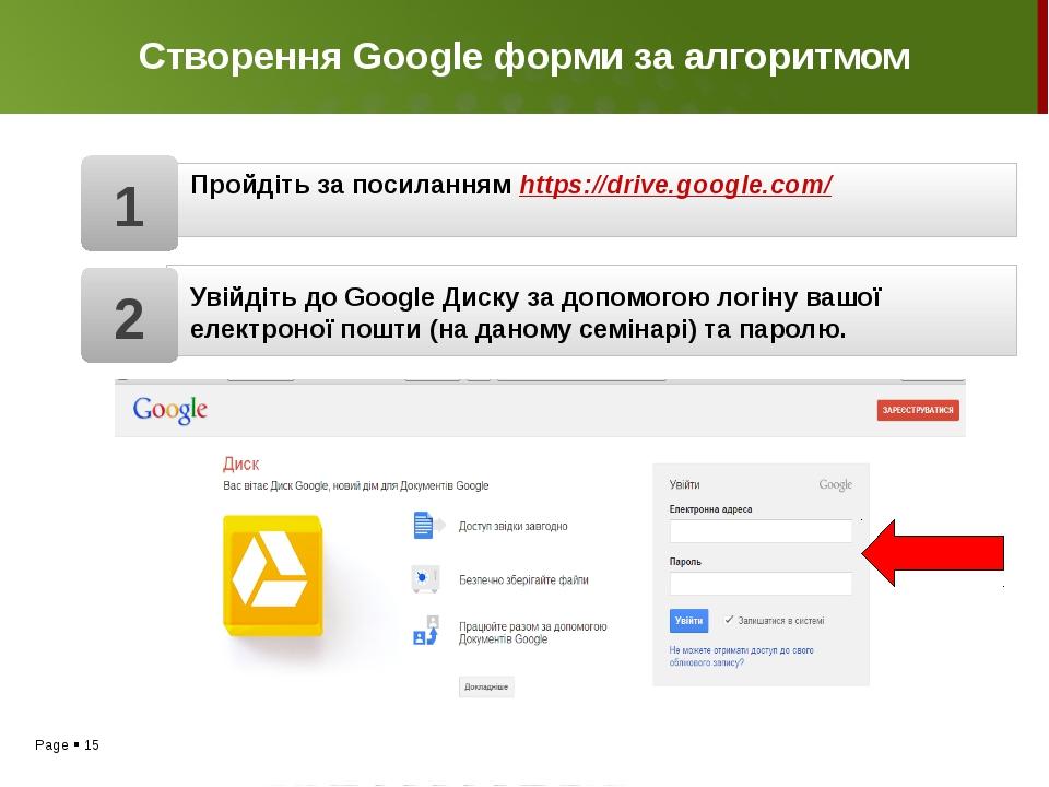 Створення Google форми за алгоритмом Пройдіть за посиланням https://drive.goo...