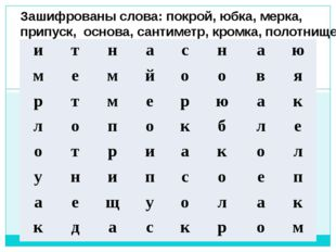Зашифрованы слова: покрой, юбка, мерка, припуск, основа, сантиметр, кромка,