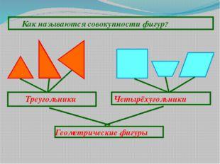Как называются совокупности фигур? Треугольники Четырёхугольники Геометричес