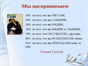 Уильям Глассер 10% из того, что мы ЧИТАЕМ, 20% из того, что мы СЛЫШИМ, 30% из