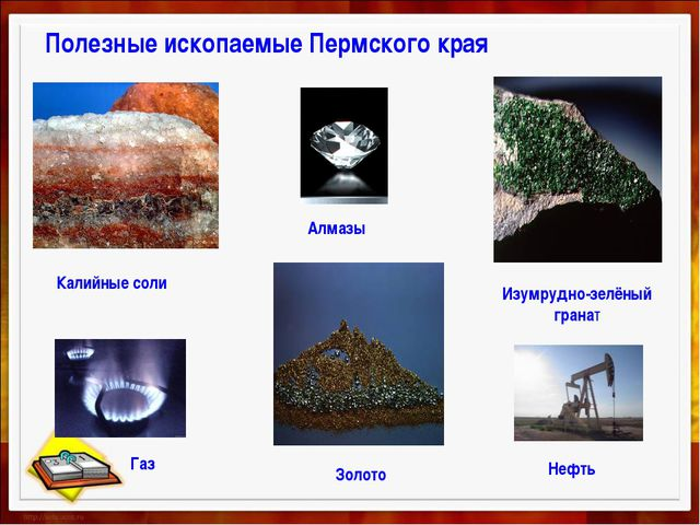 Полезные ископаемые Пермского края Калийные соли Золото Изумрудно-зелёный гра...