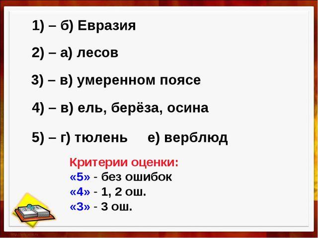 1) – б) Евразия 2) – а) лесов 3) – в) умеренном поясе 4) – в) ель, берёза, ос...