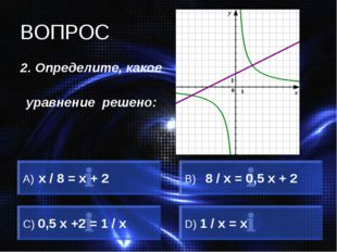 ВОПРОС 2. Определите, какое уравнение решено: х / 8 = х + 2 B) 8 / х = 0,5 х