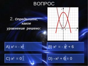 ВОПРОС 2. Определите, какое уравнение решено: A) x2 = - x2 B) x2 = - x2 + 6 C