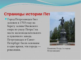 Город Петрозаводск был заложен в 1703 году на берегу залива Онежского озера п