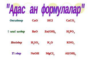 ОксидтерCaOHCІCaCO3 ҚышқылдарBaOZn(OH)2H3PO4 НегіздерH2SO4K2OKNO3 Тұ