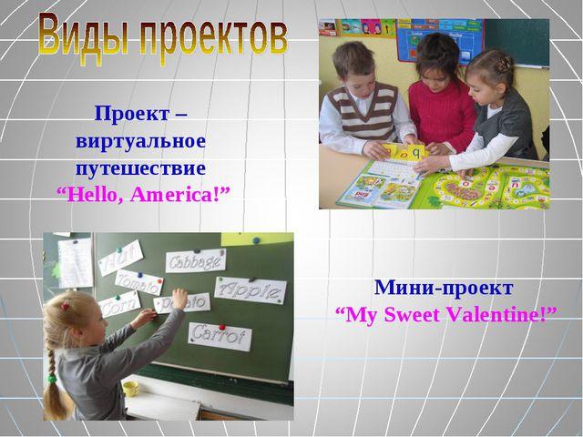 """Проект – виртуальное путешествие """"Hello, America!"""" Мини-проект """"My Sweet Vale..."""