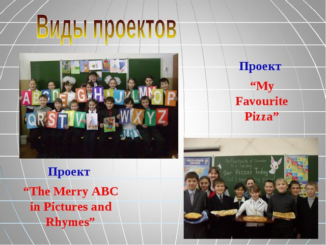 """Проект """"The Merry ABC in Pictures and Rhymes"""" Проект """"My Favourite Pizza"""""""