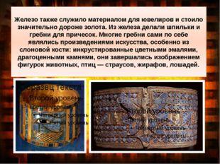 Железотакже служило материалом для ювелиров и стоило значительно дороже золо