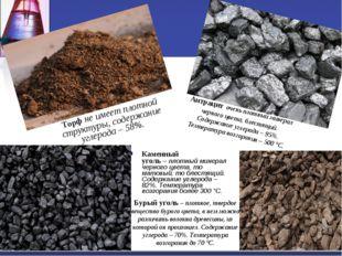Каменный уголь–плотный минерал черного цвета, то матовый, то блестящий. Сод