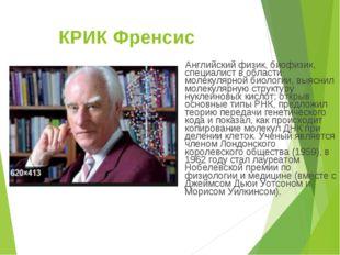 КРИК Френсис Английский физик, биофизик, специалист в области молекулярной би
