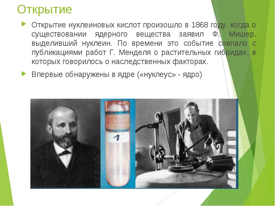 Открытие Открытие нуклеиновых кислот произошло в 1868 году, когда о существов...