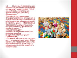 1.1Настоящий федеральный образовательный стандарт (далее – Стандарт) предста