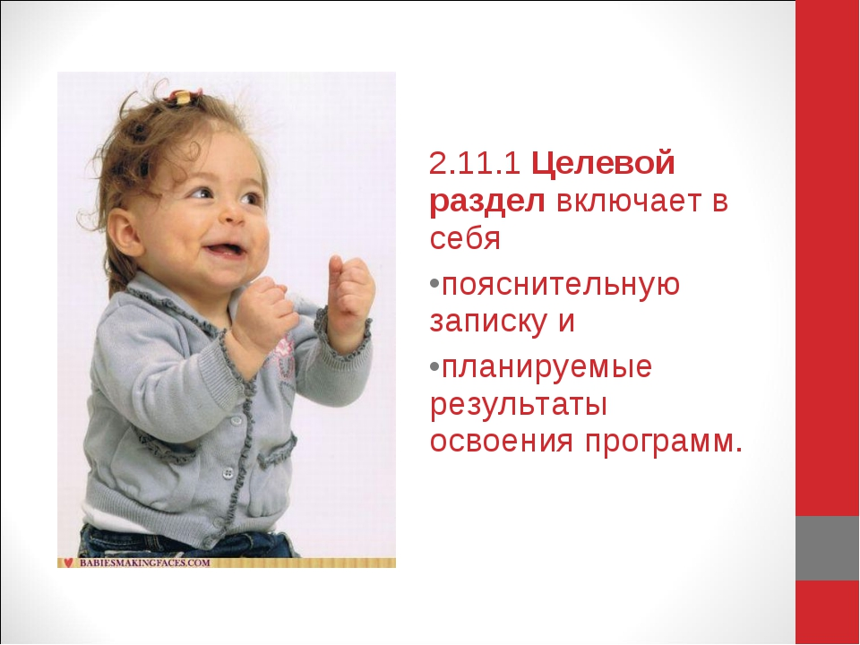 2.11.1 Целевой раздел включает в себя пояснительную записку и планируемые рез...