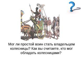 Мог ли простой воин стать владельцем колесницы? Как вы считаете, кто мог обла