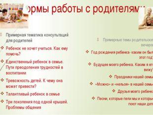 Формы работы с родителями Примерная тематика консультаций для родителей Ребен
