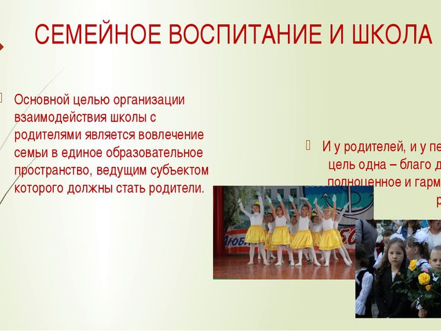 СЕМЕЙНОЕ ВОСПИТАНИЕ И ШКОЛА Основной целью организации взаимодействия школы с...