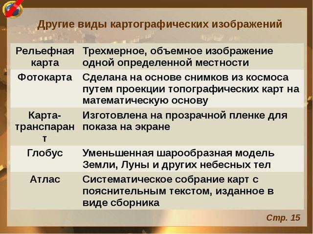 Другие виды картографических изображений Стр. 15 Рельефная карта Трехмерное,...