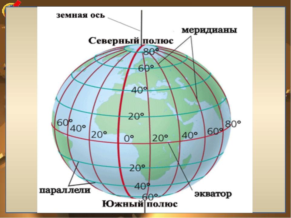 Меридианы и параллели Меридиан (лат. «полуденный») – линия окружности, условн...