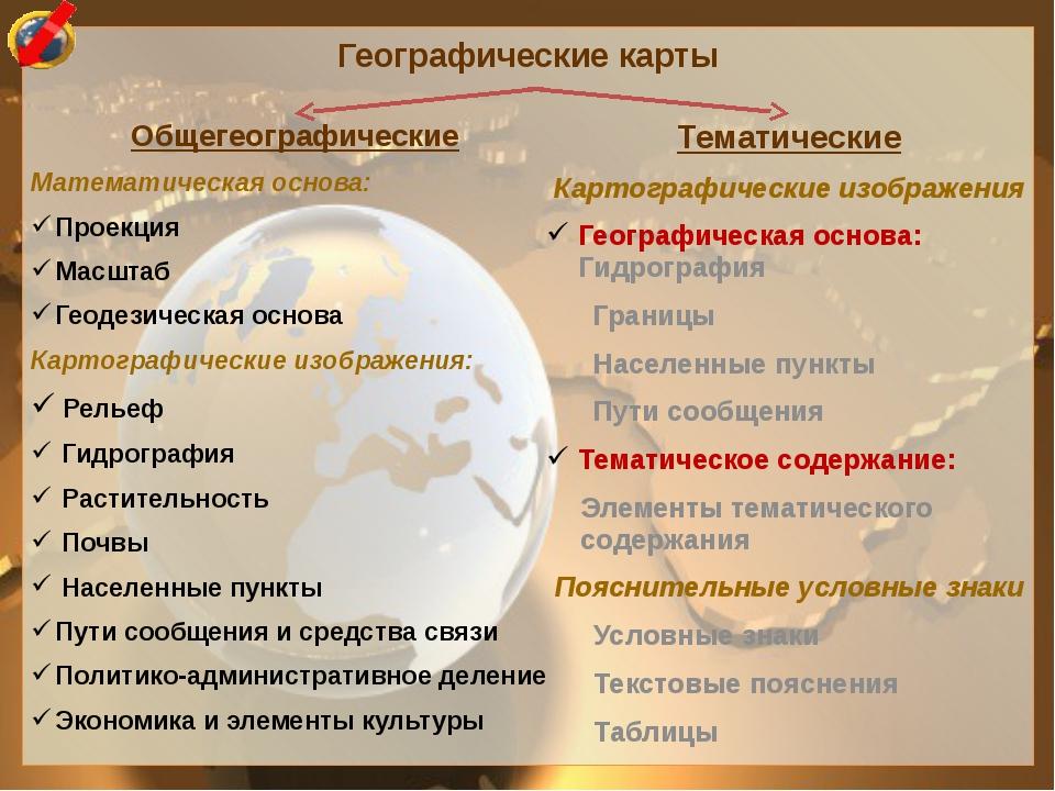 Географические карты Общегеографические Математическая основа: Проекция Масшт...