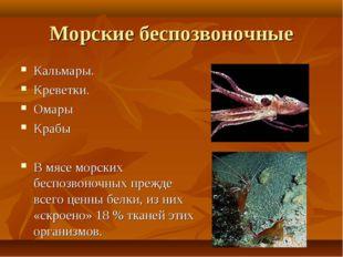 Морские беспозвоночные Кальмары. Креветки. Омары Крабы В мясе морских беспозв