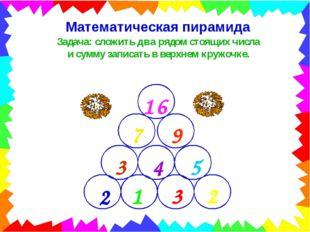 Математическая пирамида Задача: сложить два рядом стоящих числа и сумму запис