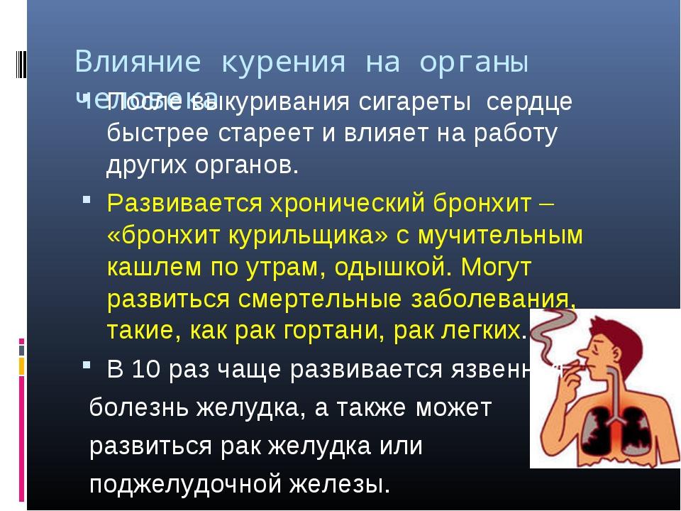 Влияние курения на органы человека После выкуривания сигареты сердце быстрее...