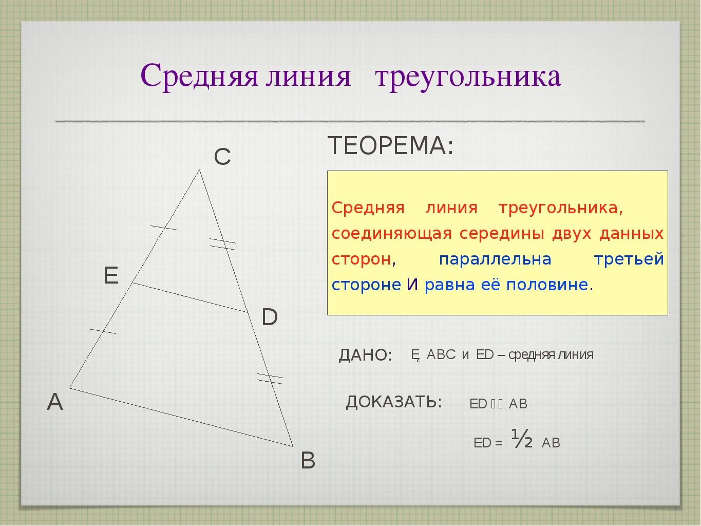 Средняя линия треугольника А С В Е D ТЕОРЕМА: ДАНО: ED⎮⎮ АВ △ АВС и ED–сре...