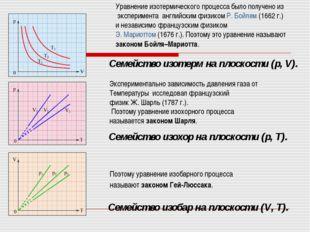 Семейство изобар на плоскости (V,T). Семейство изохор на плоскости (p,T). С