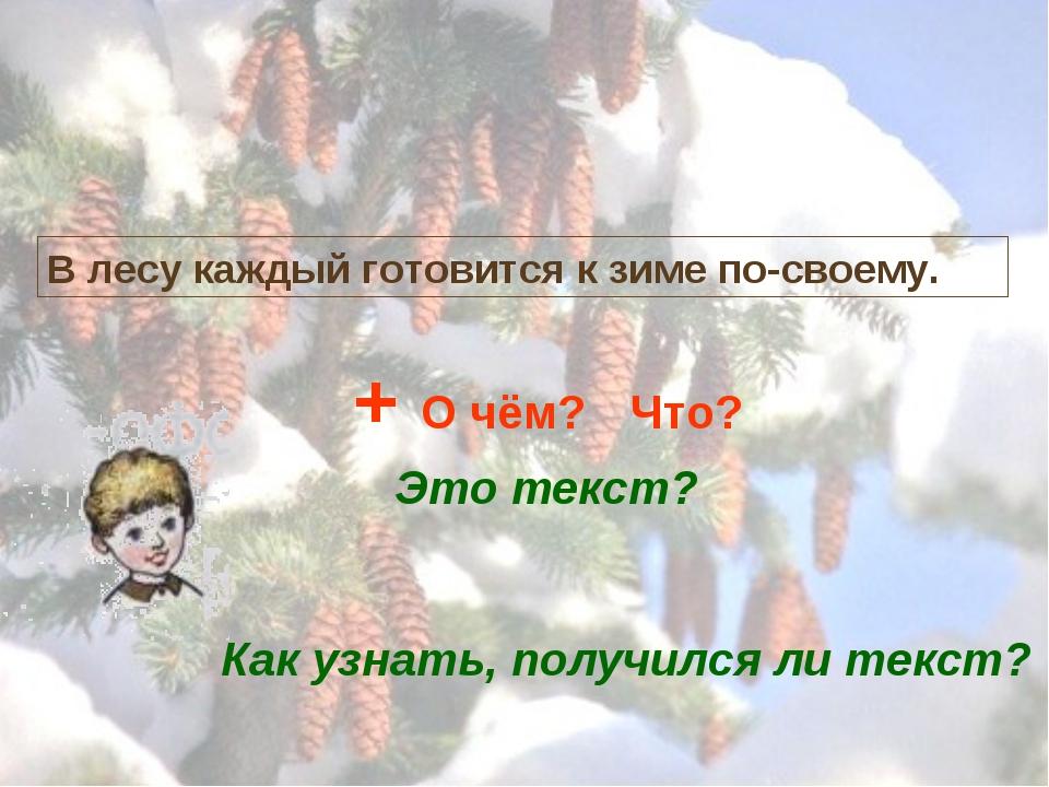 В лесу каждый готовится к зиме по-своему. Это текст? + О чём? Что? Как узнать...